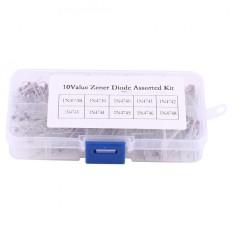 Spesifikasi 200 Pcs 10 Nilai Dioda Zener Assortment Elektronik Kit 1N4738 1N4748 Dengan Kotak Penyimpanan Internasional Lengkap