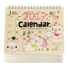 2017 Cute Cartoon Animal Desk Desktop Flip Calendar Planner With Plastic Stand Pig - intl