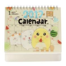 2017 Lucu Kartun Hewan Jual Meja Kalender Desktop Perencana dengan Plastik Berdiri Bebek Kuning-Intl