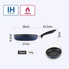 20 Cm Wajan Penggorengan Frying Steak Pancake Non-stick Tanpa Asap Umum Digunakan untuk Induksi Kompor Gas dan (Dark Blue) -Intl