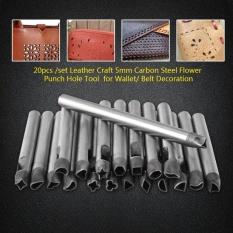 Review 20 Pcs Set Kerajinan Kulit 5Mm Carbon Steel Flower Punch Hole Tool Untuk Dompet Belt Dekorasi Intl