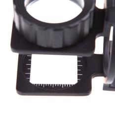 Spesifikasi 20X Lipat Magnifier Stand Mengukur Skala Pembesar Kaca Pembesar Portable Intl Baru