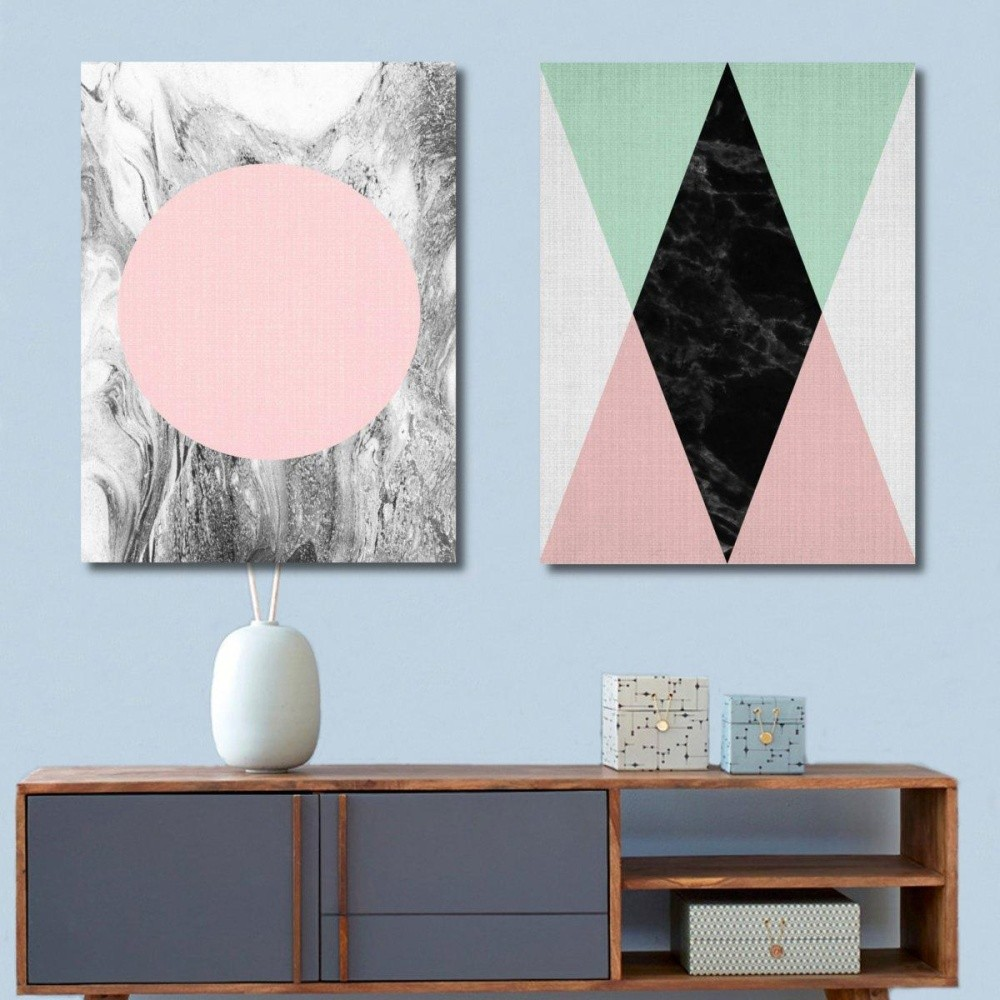 hemat 21x30 cm geometri abstrak minimalis kanvas cetak lukisan