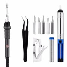 Ulasan 220 V 60 W Electric Suhu Adjustable Solder Besi Repair Tool Kit 5Pcs Besi Tips Solder Sucker Stand Solder Kawat Penjepit