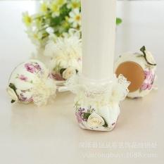 24 Pcs Kursi Kaus Kaki Floral Chair Leg Pelindung Lantai furniture Kaki dengan Lace Edge (Violet)-Intl