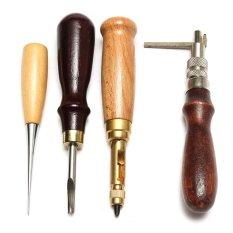 24x Kerajinan Kulit Jahitan Ukir Bekerja Jahit Pelana Groover Punch Tool Kit