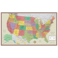 24X36 Amerika Serikat, Amerika Serikat Contemporary Elite Dinding Map Poster (24X36 Laminated)-Internasional