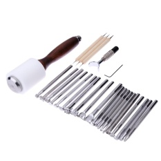 Ulasan Tentang 25Pcs Set Manual Leather Carving Stamp Tools Kit Intl