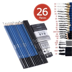 26 Pcs Profesional Menggambar Sketsa Pensil Kit Set Termasuk Pensil Gambar Grafit Pensil Arang Sticks Penghapus Sharpeners Untuk Perlengkapan Seni Siswa Intl Murah