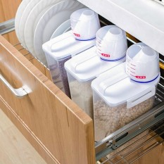 2L Plastik Dispenser Cereal Kotak Penyimpanan Makanan Dapur Butir Kemasan Beras Bagus-Intl