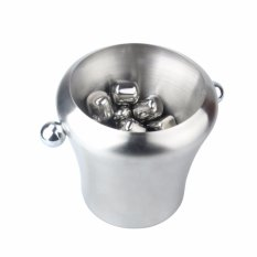 Iklan 2L Stainless Steel Ice Bucket Champagne Bir Bucket Praktis Bar Container Barrel Beer Whisky Wine Cooler Champagne Keg Intl
