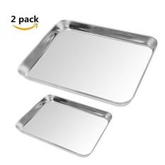 2 Pack Cookie Baking Sheet, Kuorle Murni Stainless Steel Commercial Bakeware Set & Nonstick Baking Pans untuk Oven Pemanggang Roti, Tidak Beracun, Sehat & Pencuci Piring Aman. -Intl