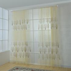 Harga 2 Pcs 1 2 5 M Drape Offset Print Tree Pola Voile Gorden Tulle Sheer Curtain Beige Intl Seken