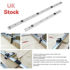 2PCS 450Mm Aluminium Alloy Rail Miter Bar Slider Table Saw Gauge Rod Woodworking Tool Sliver - intl