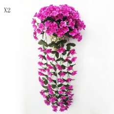 2pcs Artificial Silk Violet Ivy Hang Flower Vine Rattan Wall Hanging Artificial Plant Wedding Party Home Garden Balcony Decoration
