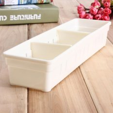 2 Pcs Lemari Laci Sendok Garpu Organizer Kotak Penyimpanan Sendok Garpu Bekas Perkakas Dapur Putih-Intl