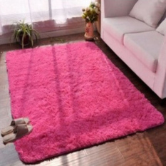 2 Pcs Berbulu Anti Selip Ramus Area Karpet Rumah Karpet Yoga Bedroom Floor Dining Room Mat Rose-Intl