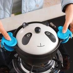 2 Pcs Kupu-kupu Silikon Oven Panas Insulated Jari Glove Microwave Non-slip Gripper Pot Holder Dapur Memasak Alat Aksesoris -Intl