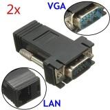 Jual 2 Pcs Vga Male To Lan Cat5 Cat6 Rj45 Ekstensi Extender Kabel Adaptor Jaringan Hitam Import