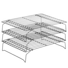 3 Layer Dilipat Rak Memasak Set untuk Kue Pancake Cookieshome Digunakan Kue Penyejuk Tray Wire Style (hitam) -Intl