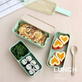 Harga 3 Layer Japanese Slim Bento Lunch Box Food Container Lunchbox With Spoon Microwave Safe Bpa Free Intl Satu Set