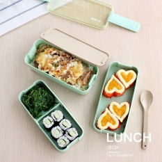 Harga 3 Layer Japanese Slim Bento Lunch Box Food Container Lunchbox With Spoon Microwave Safe Bpa Free Intl Termahal