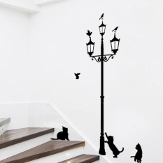 3 Little Cat Di Bawah Lampu Jalan DIY Wall Stiker Wallpaper Dekorasi Seni Mural Room Decal-Intl