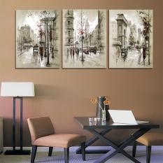 3 Panel 35x50 Cm Home Decor Kanvas Lukisan Kota Street Landscape Lukisan Dinding Dekoratif Gambar Tanpa Bingkai- INTL