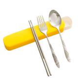 Beli 3 Pcs Stainless Steel Portable Chopsticks Spoon Fork Tableware Dinnerware Set With Storage Case For Outdoor Activities Orange Intl Terbaru