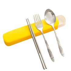 Beli 3 Pcs Stainless Steel Portable Chopsticks Spoon Fork Tableware Dinnerware Set With Storage Case For Outdoor Activities Orange Intl Murah Tiongkok