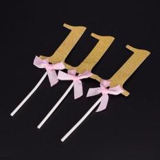 3 Pieces Dekorasi Pesta Boy Girl SATU Tahun Emas 1 Kertas Ulang Tahun Supplies Gold 15.5x4.2 Cm-Intl