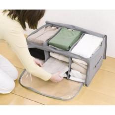 3 window storage bag box Tempat penyimpanan pakaian baju bedcover portable dengan 3 sekat