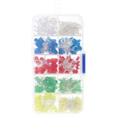 300pcs 3mm 5mm Assorted Color 2-pin Diffused LED Light Emitting Diodes Set with 5 Colors Electronic Components - intl