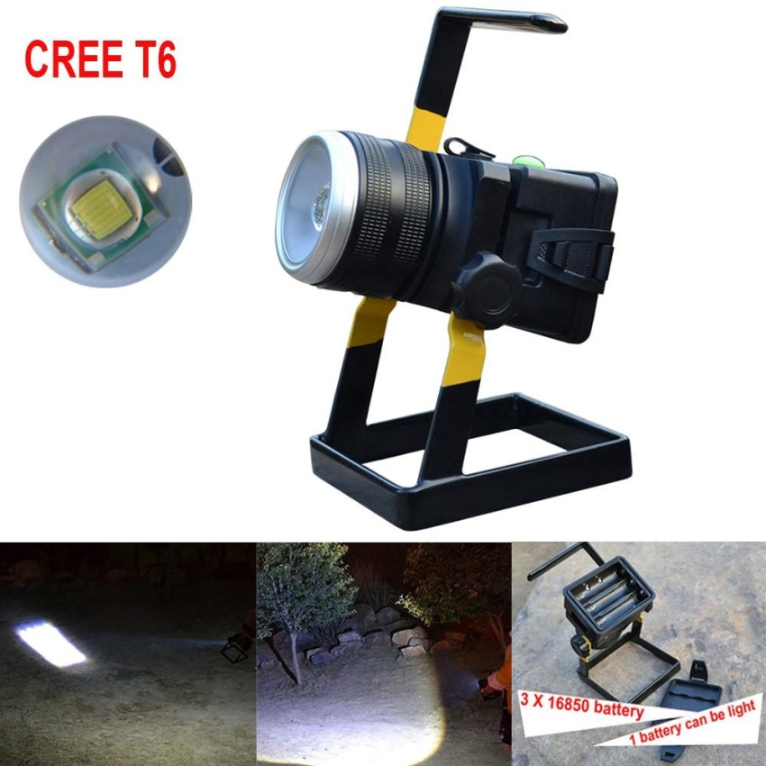 Ulasan Lengkap Tentang 30 W 2400Lm Xml T6 Led Rechargeable Zoomable Flood Light 18650 Portable Spot Lamp Intl