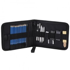 33pcs H&B Sketching Pencils Drawing and Sketch Kit Set with Erasers Charcoal Stick Sharpener - intl