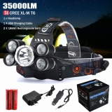 35000Lm 5X Xm L T6 Led Headlamp Headlight Senter Head Light Lampu 18650 Asli