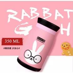350 Ml Binatang Berwarna Desain Botol Air Panas Inox Thermal Isolasi Cangkir Kartun Vacuum Cup TRAVEL MUG Flask Hadiah Bagus untuk Anak-anak-Pink-Intl