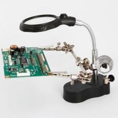 3.5X 12X Adjustable Len Magnifier Berguna Membantu Tangan Klip Kaca Pembesar dengan LED Light Solder Besi Lensa Magnifie- INTL