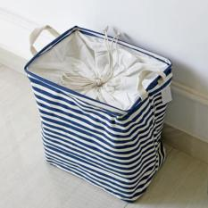 36*26*40 Cm Portable Cotton & Linen Striped Storage Barrel Beam Port Kain Kotor Penyimpanan Keranjang Cuci Hamper