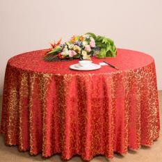 360dsc Klasik Jacquard Floral Taplak Meja Bundar Mewah Overlay Table Cover 180 Cm-merah-