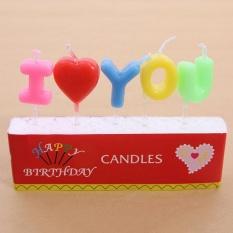 360DSC Perlindungan Lingkungan Tidak Berbahaya I Love You Surat Lilin Ulang Tahun Yang Warna-warni untuk Wanita-Intl