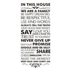 360DSC House aturan di rumah ini kami keluarga besar yang bahagia Dream kutipan inspirasional Waterproof yang dapat dilepas PVC vinil stiker dinding rumah seni dekorasi stiker (55 120 cm)