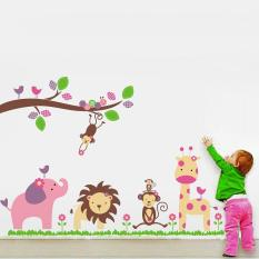 360 WISH Singa Jerapah Monyet Stiker Dinding For Kamar Anak Kamar Tidur Anak Berwarna-warna