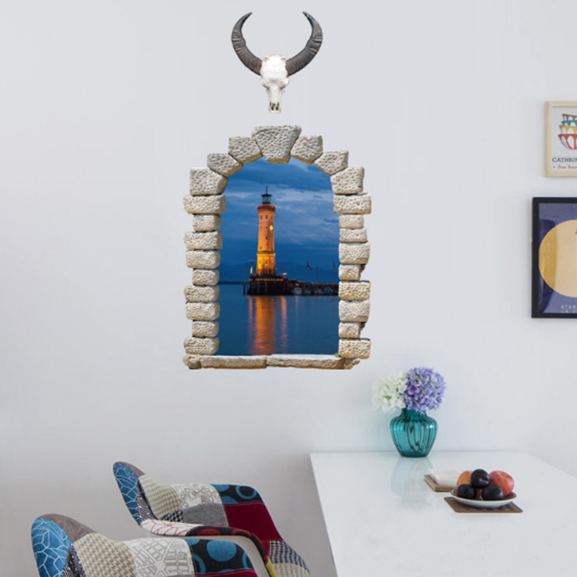 3D Andscape Fake Window Cordela Lampu Dinding Stiker Decal Rumah Dekorasi PVC Mural Wallpaper House Art Gambar Ruang Tamu Senior Dewasa Remaja Anak-anak Kamar Tidur Dekorasi-Intl