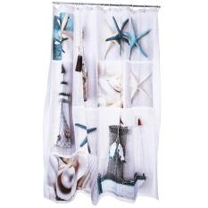 3D Blue Sea Life Pola Kerang Mandi Shower Tirai Dekorasi Kamar Mandi (Warna Campuran)-Intl