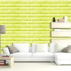 3D Pola Batu Bata Wallpaper Kamar Tidur Ruang Tamu Modern Dinding Latar Belakang TV Decor (Hijau)-Intl