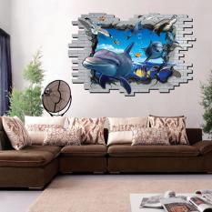 3D ikan lumba-lumba air laut dunia stiker dinding rumah stiker PVC mural vinil Paper House dekorasi Wallpaper ruang tamu kamar tidur dapur gambar seni diseduh sendiri untuk anak remaja dewasa bayi Senior bibit - International