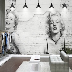3D Marilyn Monroe Murals Dipersonalisasi Fashion Retro Nostalgia Dinding Bata Wallpaper Bar Kedai Kopi Toko Pakaian Wallpaper-Internasional