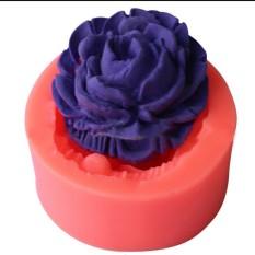 3D Fondant Bunga Mawar Kue Gula Cetakan Peralatan Memotong Silikon DIY Kue Cokelat Warna Acak-