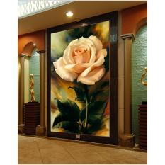 3D Mulus Wallpaper Mural Wallpaper Eropa Minimalist Painting Lily Bunga Pintu Masuk Ruang Tamu Sofa TV Backdrop (Tanpa Bingkai) -Intl